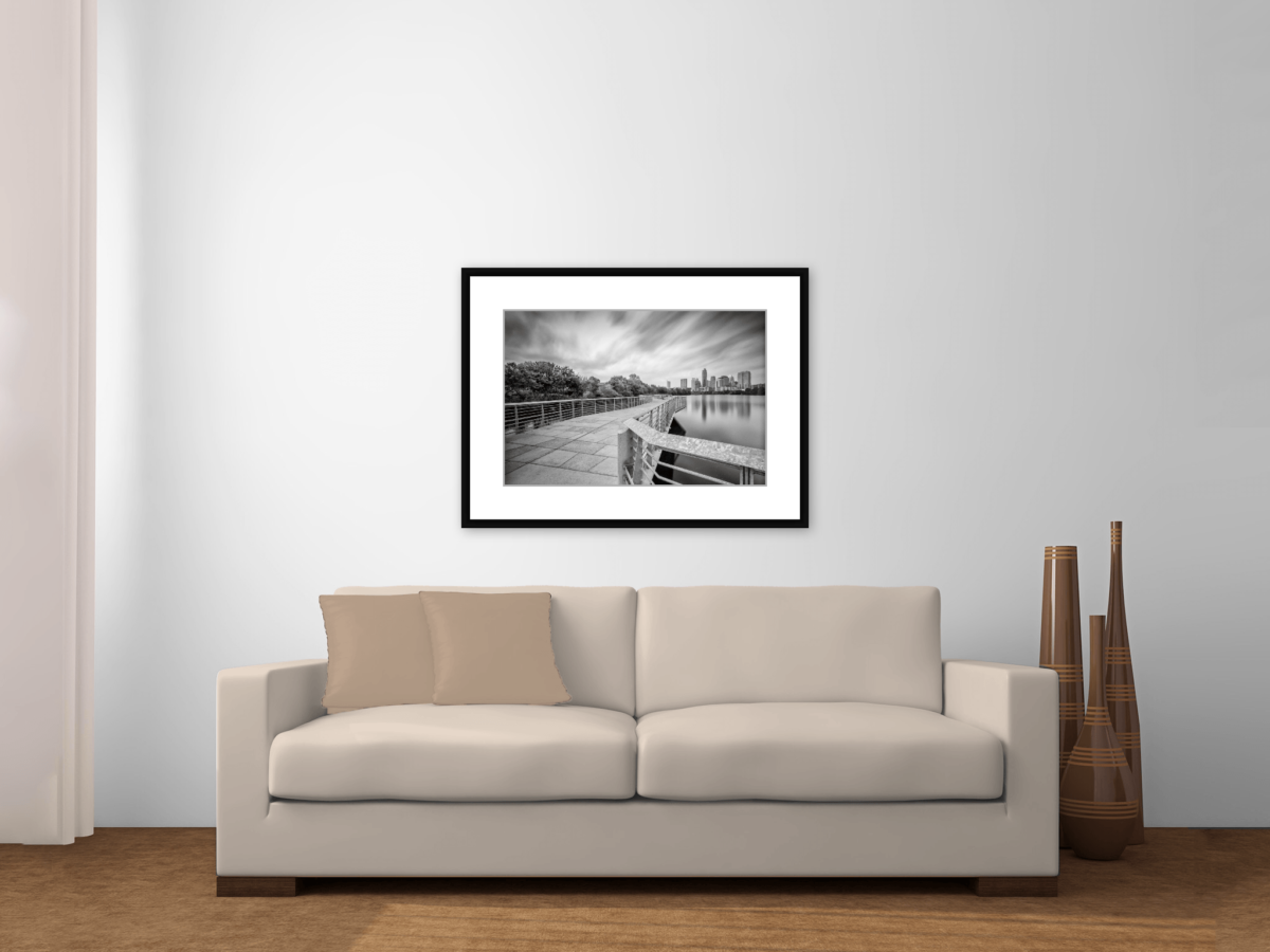 """Austin Skyline and Lady Bird Lake Boardwalk"" Black and White Photography Print Framed"