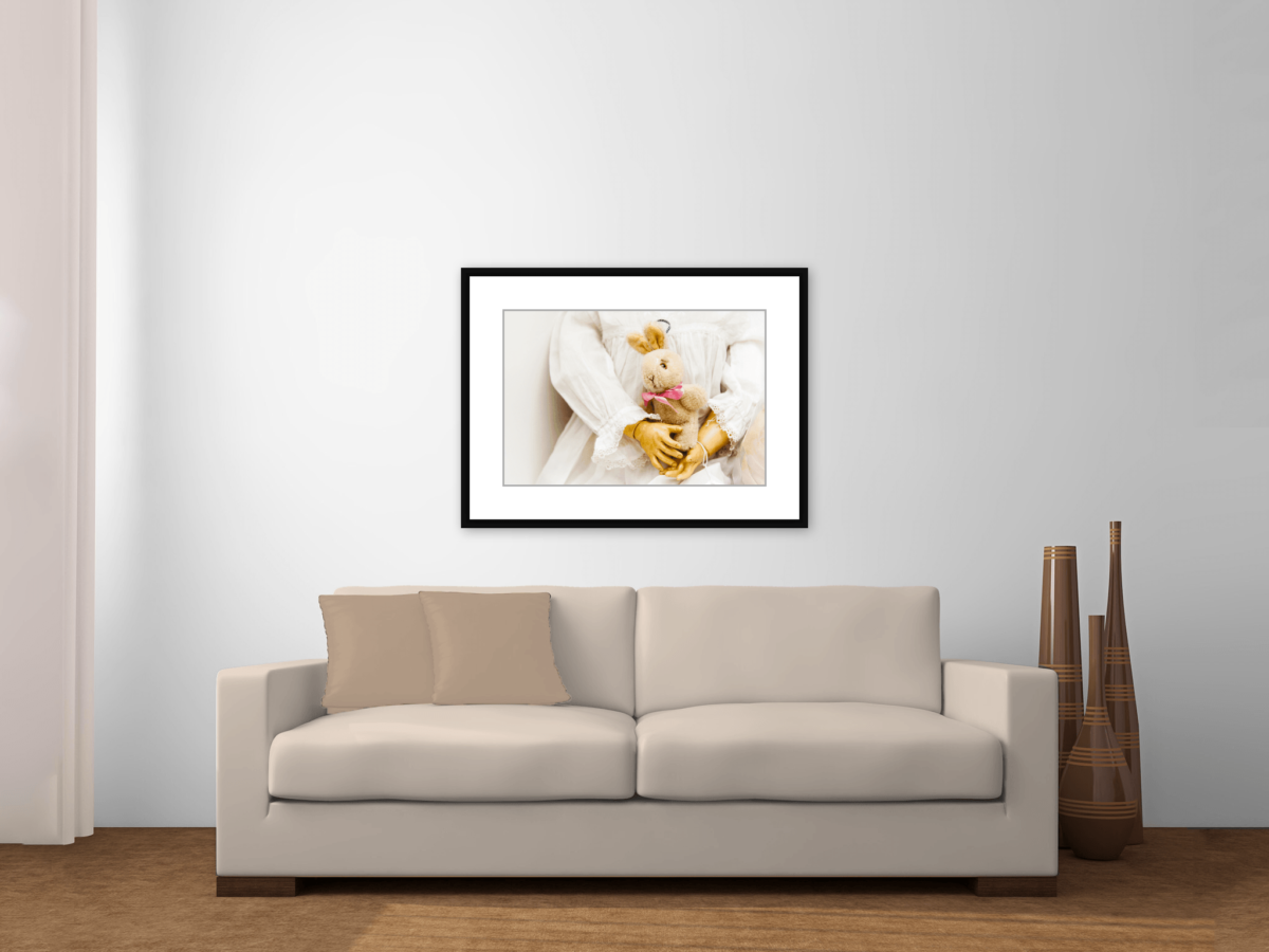"""Bunny"" Framed Photography Print Above Couch"