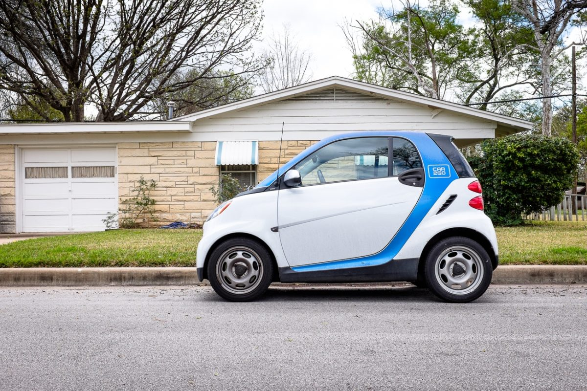 Car 2 go car in the neighborhood