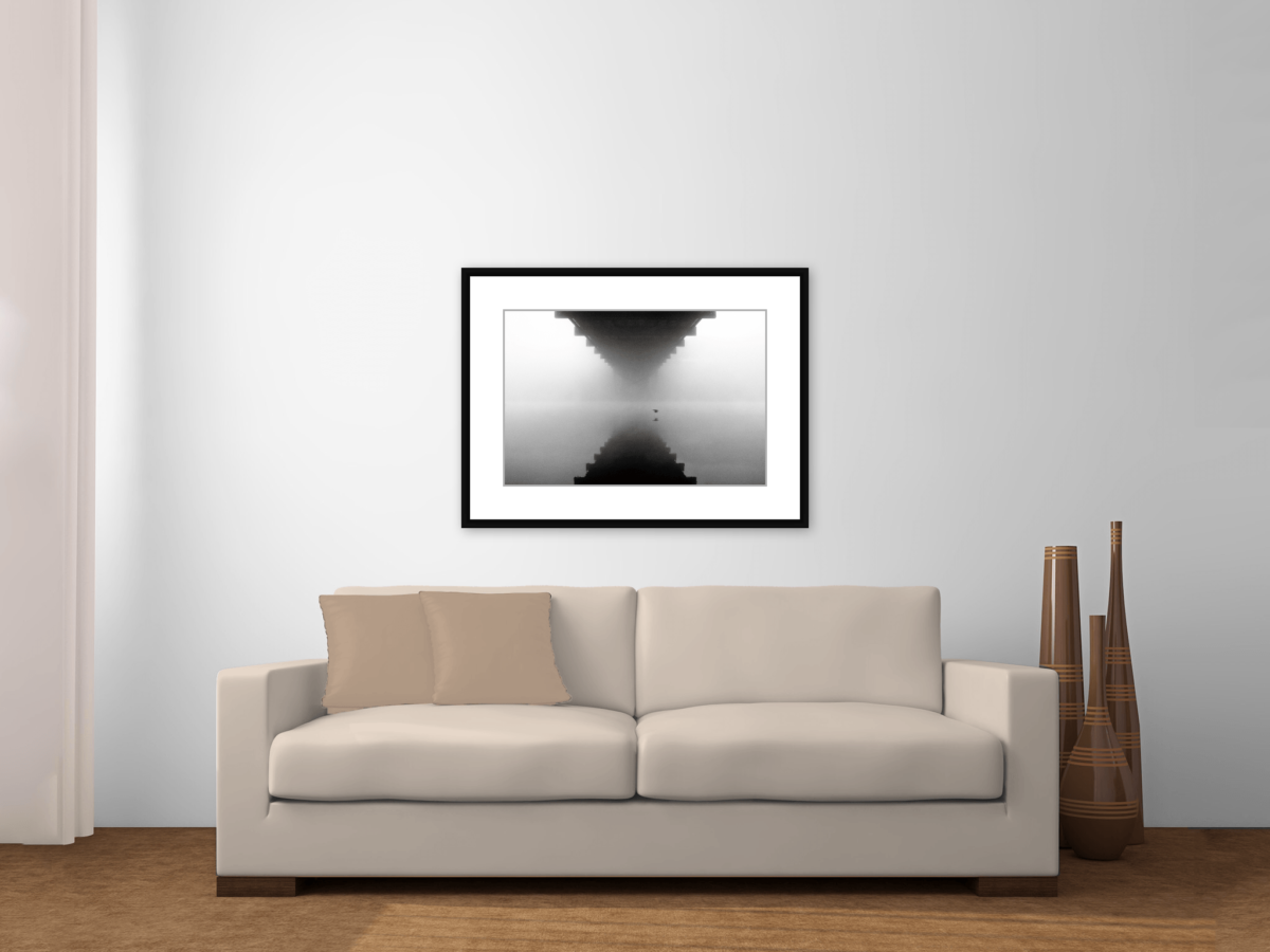 """Glide"" Black and White Photography Print Framed Above a Couch"