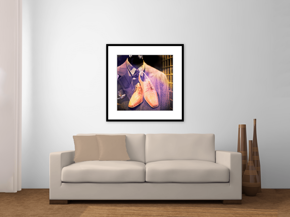 """""""New Suit, New Shoes"""" Photography Print Framed Over Couch"""