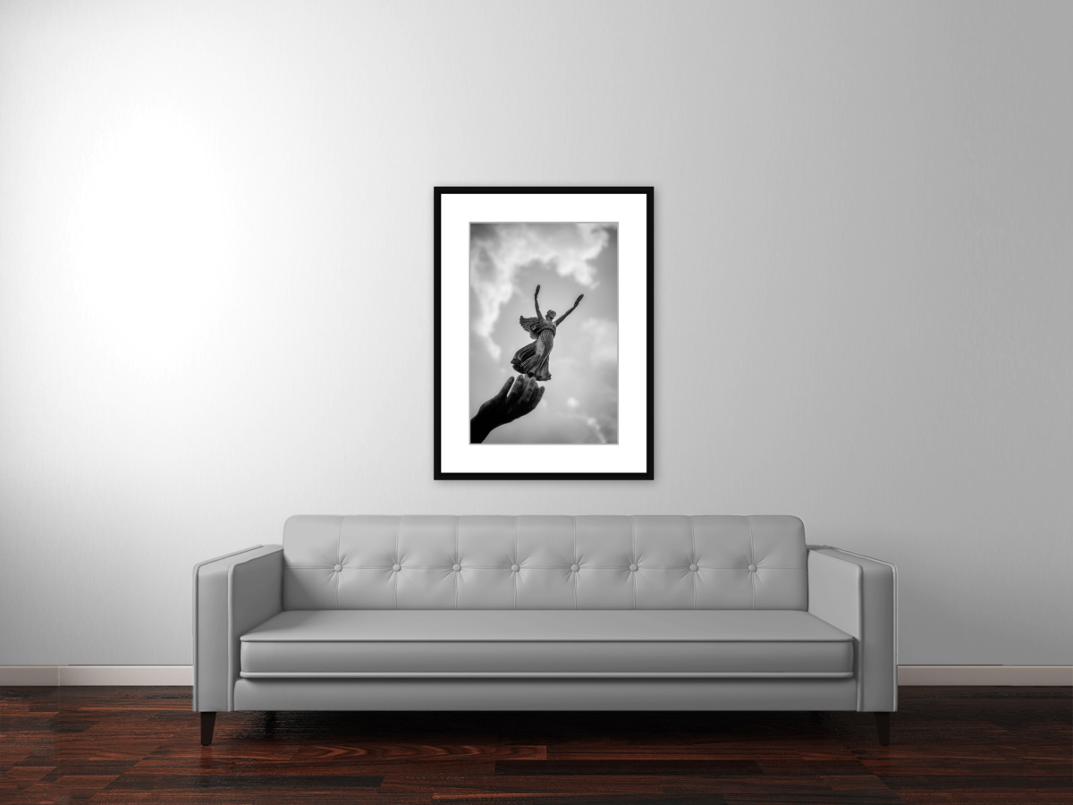 """Nike, Goddess of Victory"" Framed Black and White Photograph"