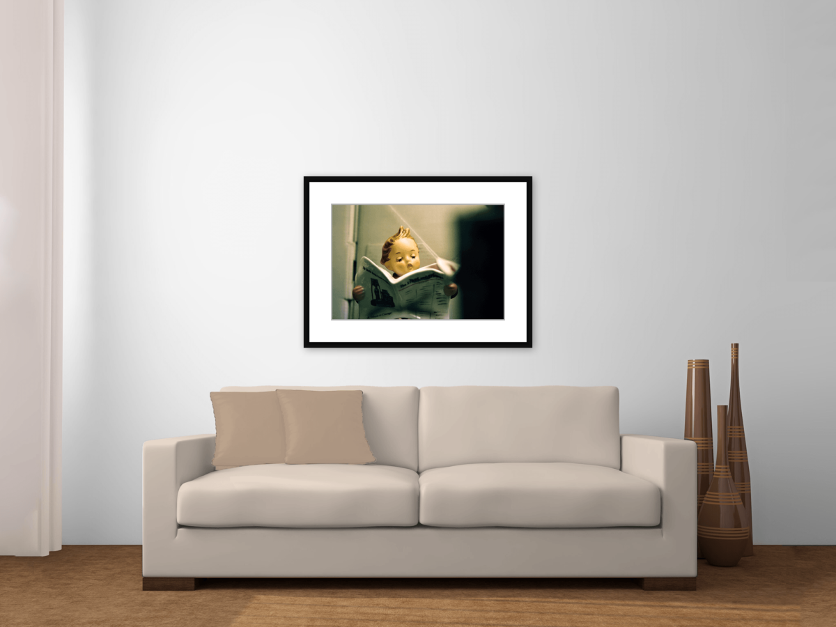 """Number 2"" Hummel Reading Paper in Bathroom Framed Print Above Couch"
