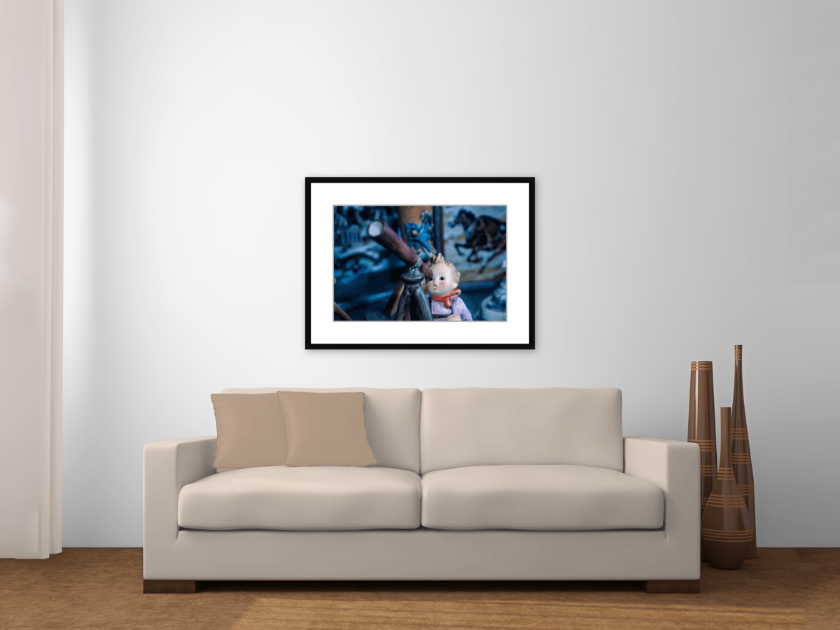 """Peeping Tom"" Hummel Stargazer Telescope Framed Photography Print Framed Above Couch"