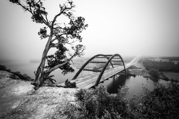 The Pennybacker Bridge Facing the Fog - Austin TX
