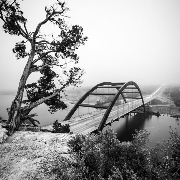 Austin 360 Bridge - Black and White Photograph