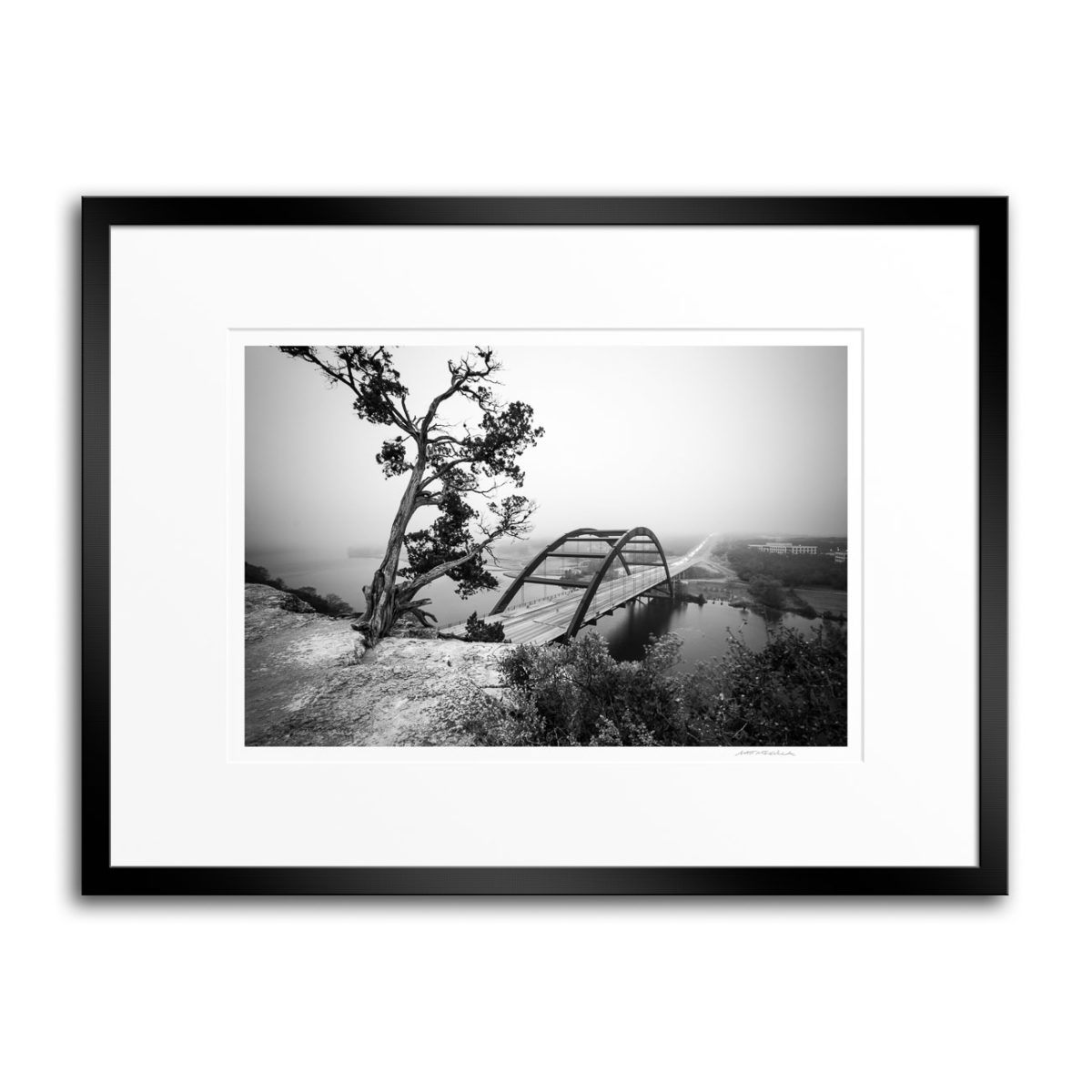 Austin 360 Bridge Facing the Fog - 18x24 Black Frame & White Mat