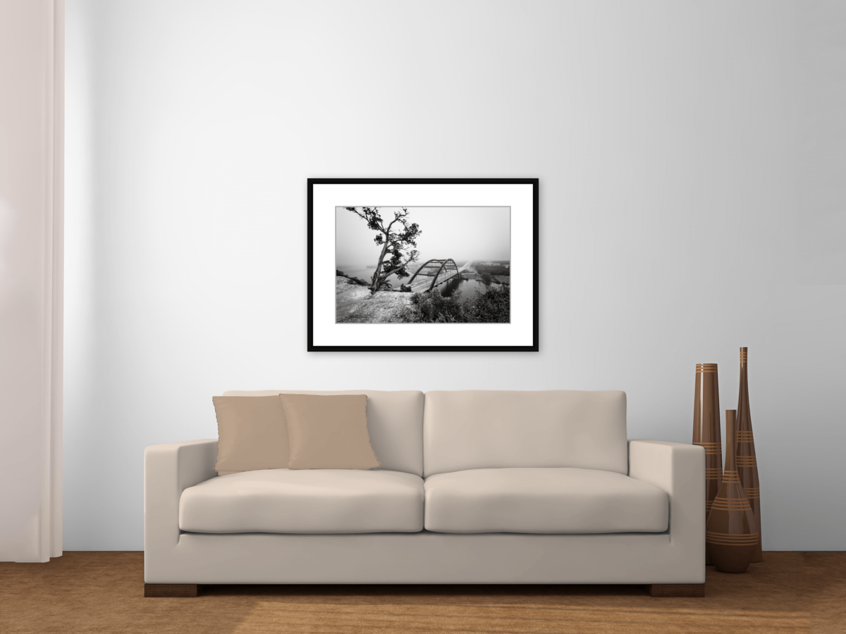 """Austin 360 Bridge Facing the Fog"" Framed Photography Print Above Couch"