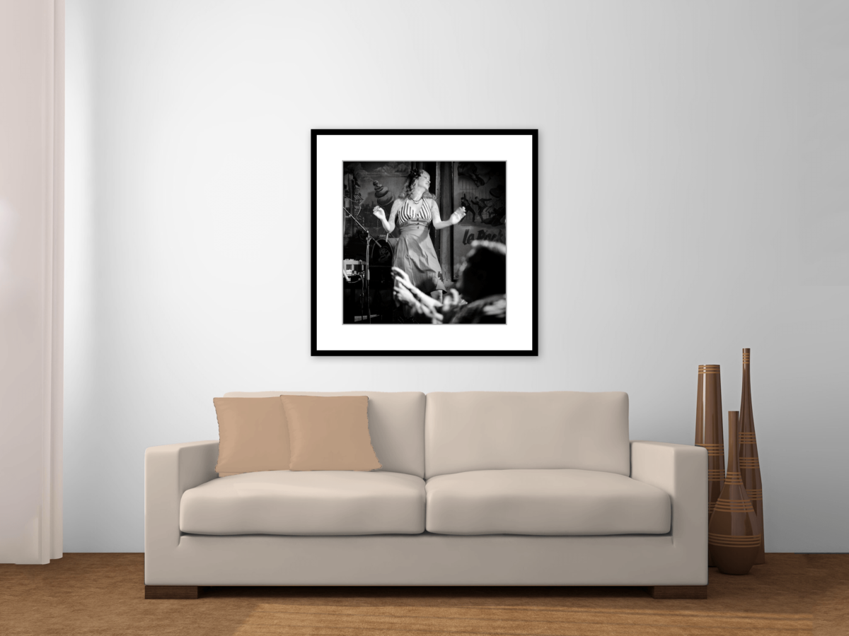 """Pinup Girl Dancing"" Framed Photography Print Above Couch"