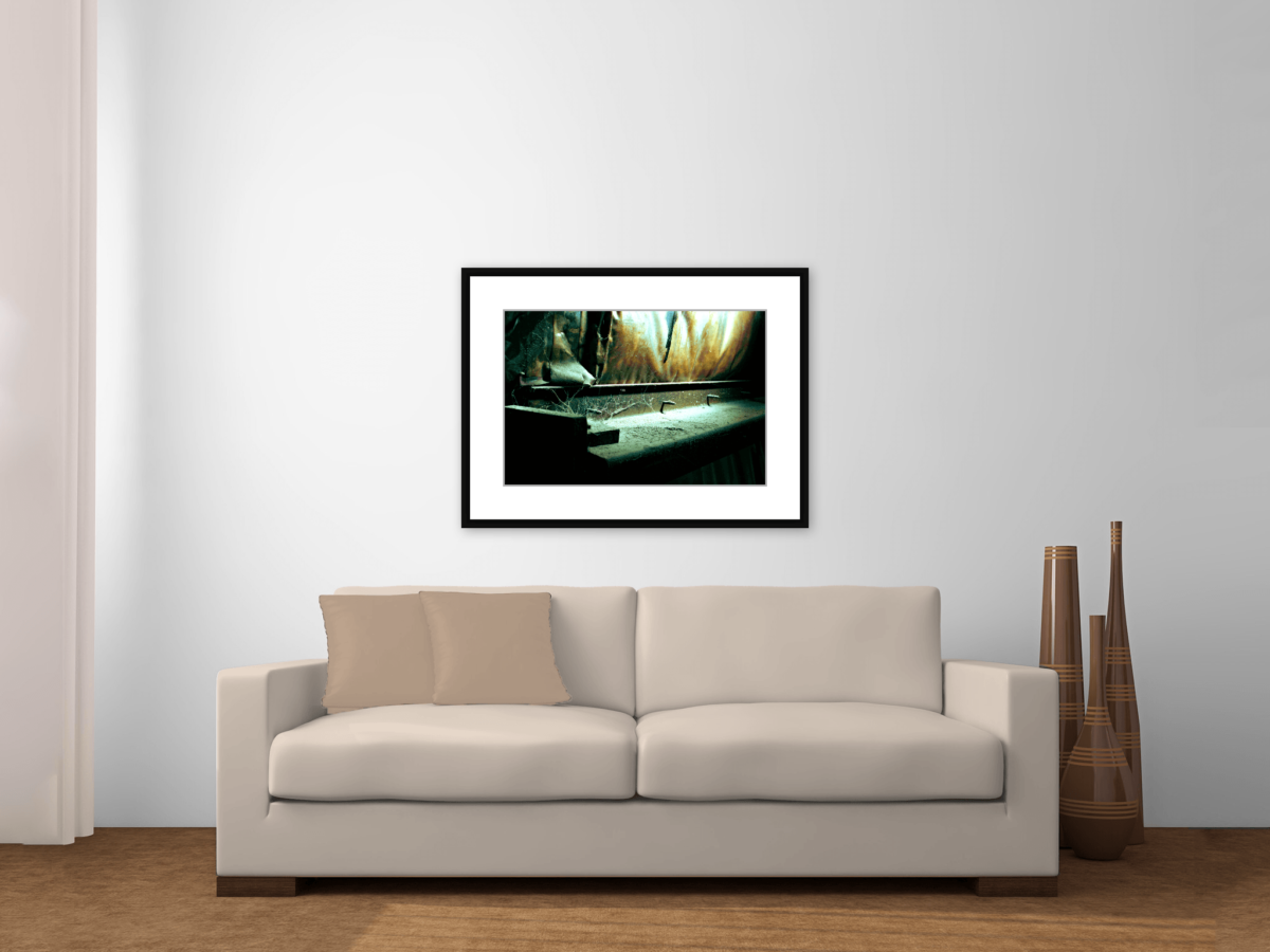 """Secrets"" Framed Photography Print Above a Couch"
