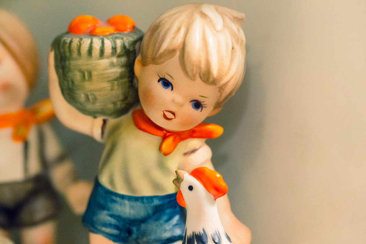 Hummel Boy Holding Basket With Rooster