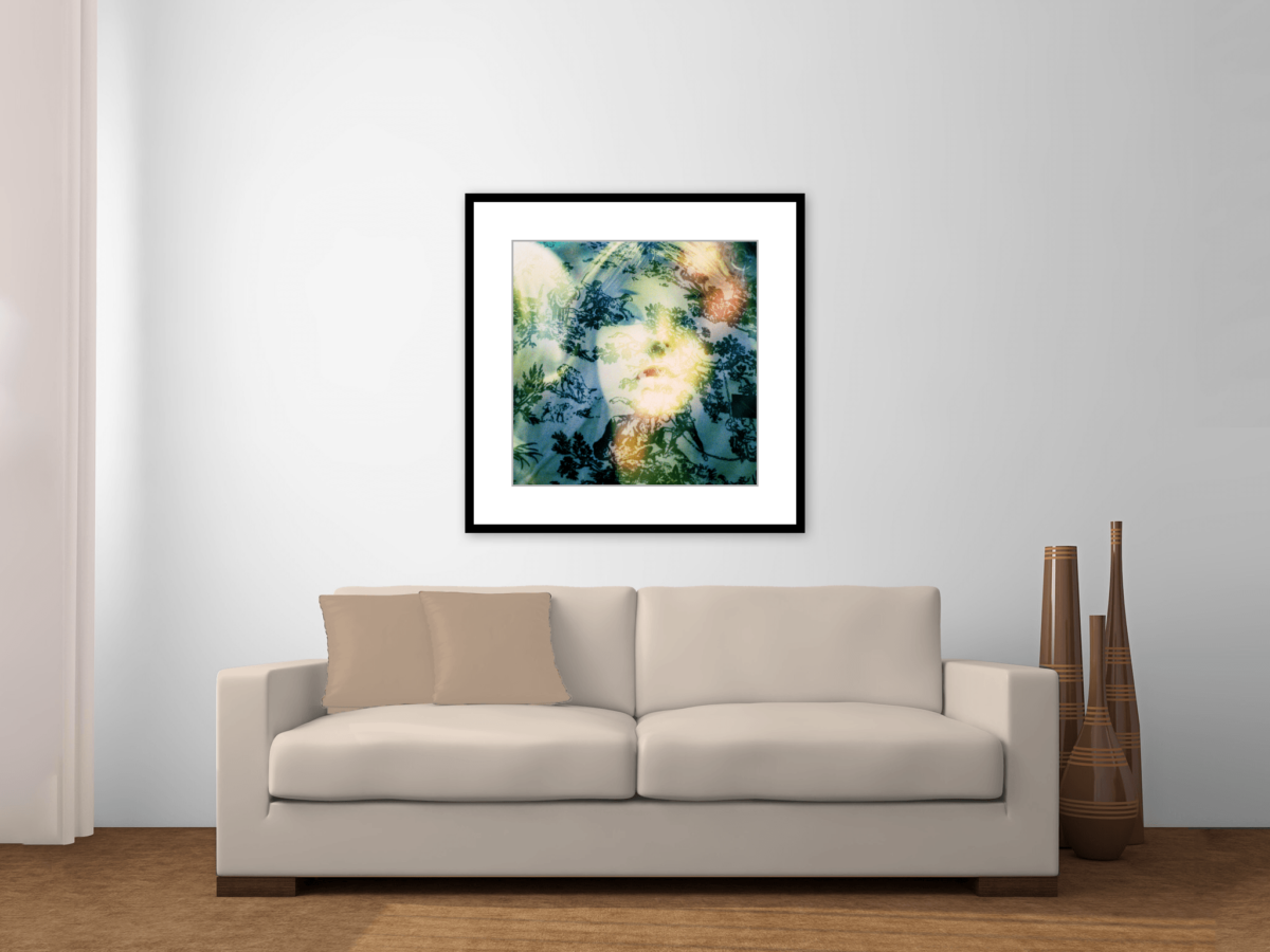 """Sophisticated Lust"" Framed Photography Print Above Couch"