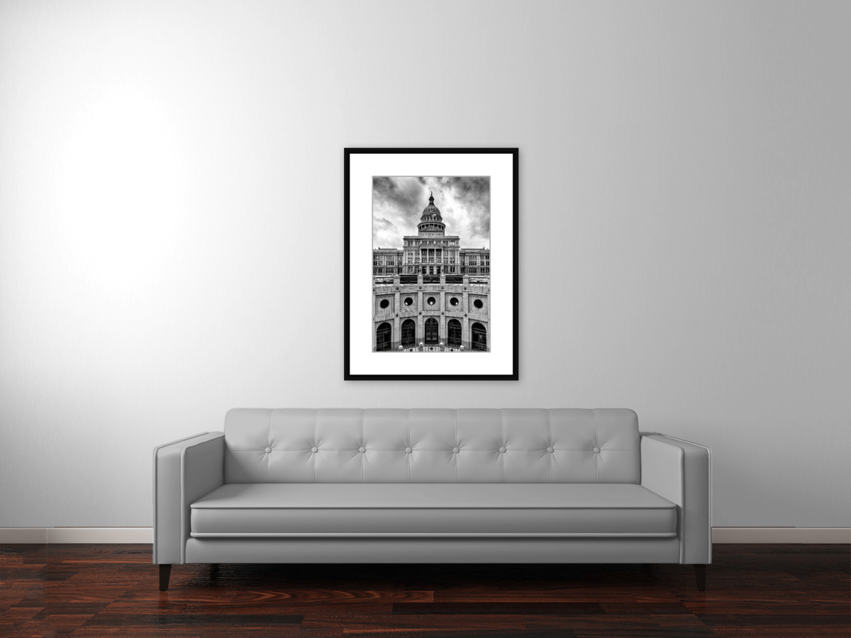 """Texas Capitol Building Before the Storm"" Framed Photography Print Above Couch"