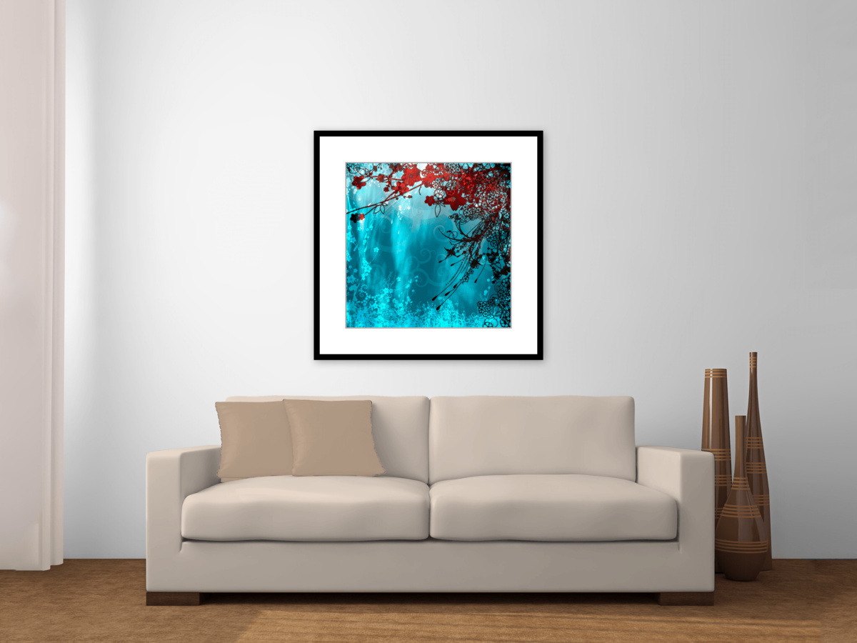 Framed Art Print - Blue Water and Red Flowers