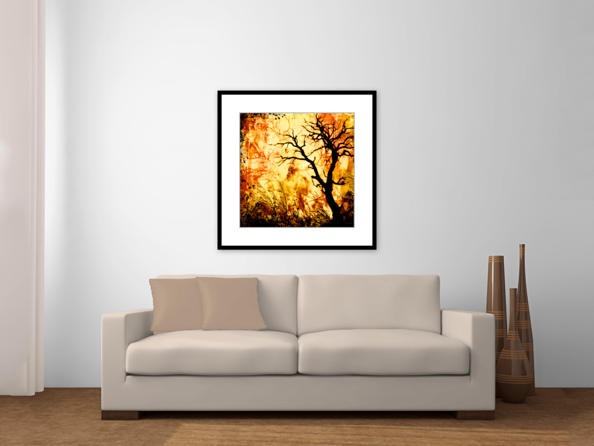 """Wildfire"" Framed Art Print Above Couch"